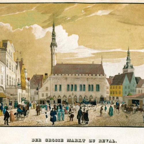 Carl Theodor Gelhaar: Tallinna Suur Turg u. 1835, Keskaegne Raekoja plats Th. Gelhaar, u. 1853